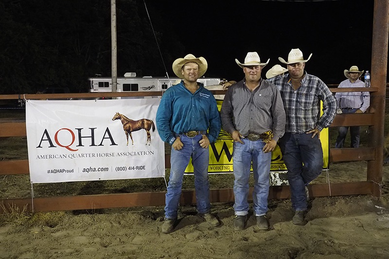 Broken H and H Cross Ranches, Bourbon County, placed second in the two-performance Working Ranch Cowboys Association Fourth Of July Ranch Rodeo at Council Grove. While they didn't all make it to photo-taking-time, the team was composed of Bruce Beeman, Brock Hall, Cliff Hall, Doug Hall and Ty Swiler. (Photo by Bruce Hogle.)