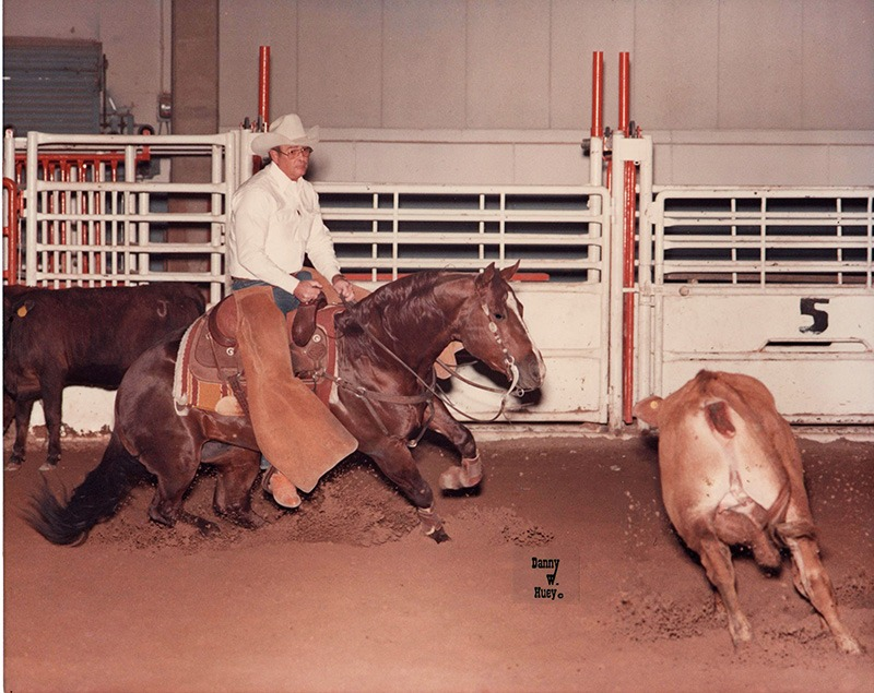 Pictured as a three-year-old, Colonel Hotrodder with Bill James in the saddle was a winner in the cutting pen and became a leading Quarter Horse sire.