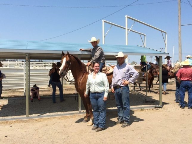 Two times a champion exhibitor in the ranch horse competition during the Flint Hills Beef Fest at Emporia, Justin Keith of Allen, Kansas, rode his mother Brenda Blair's sorrel Quarter Horse gelding called Scorch to top the intermediate division and collect awards from show officials.