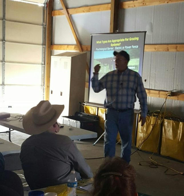 Rod Schaub, Lyndon, Frontier Extension District livestock agent, discussed alternative cross fence options during the Grazing Management Field Day at Garnett. (Photo by Debbie Davis.)