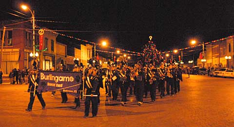The Burlingame Band will strike up their first beat at 6 o'clock, Saturday evening, Dec. 5, officially opening the Parade of Lights, and climaxing a jam packed day of North Pole Fantasy at the 26th annual Burlingame Country Christmas.