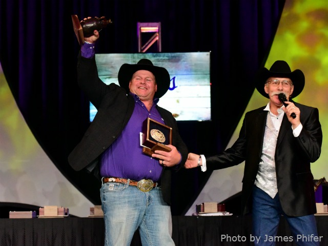 Justin Rumford, Abbyville native, now of Ponca City, Oklahoma, was honored by the Professional Rodeo Cowboys Association during the National Finals Rodeo in Las Vegas with two awards, as the Clown of the Year and Coors Man in the Can.