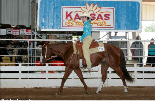 It's the Western pleasure class during the American Quarter Horse Association show at the Kansas State Fair, Hutchinson, and Lauren Schiller is on the rail with her sorrel gelding, Romeo.