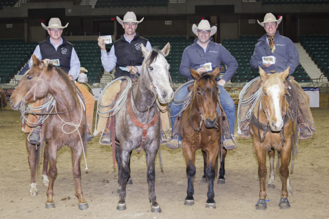 Champion team in the Sunday performance of the ranch rodeo featured at the EquiFest of Kansas at Topeka was the foursome representing Robbins Ranch-Keith Cattle Company of Lyon County. Mounted ranch cowboys with their trophy buckles are Connor Grokett, Adrian Vogel riding the Top Horse of the rodeo, Clay Wilson and Justin Keith. (Photo by Mindy Sue Andres.)
