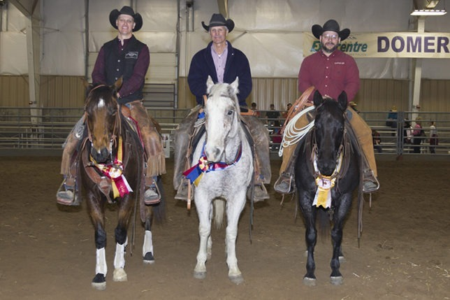 Top riders in the Top Horse Challenge at the recent EquiFest of Kansas in Topeka were (left to right) reserve champion Josh Rushing on Buster, Hume, Mo.; champion Dwight Bylik on Grey, Sedan; and Lee Hart on Roanie, Topeka. (Photo by Mindy Sue Andres.)