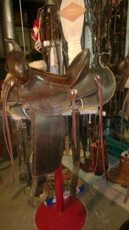 When a combine accident forced Clarence Buchman off the farm in the mid-'40s, he kept his saddle. Now restored, the Hamley & Company saddle Number 237saddle, has the serial number 2890, custom made for catalog order number 3103-91, of Ben H. Watkins, Homer, Idaho, who bought the new saddle for $87, on August 27, 1919.