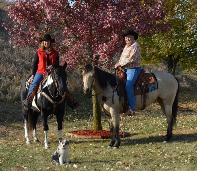 Carol Martin and Jim Hunter, aka Bronco Billy, were most at home on horseback with Roxie alongside.
