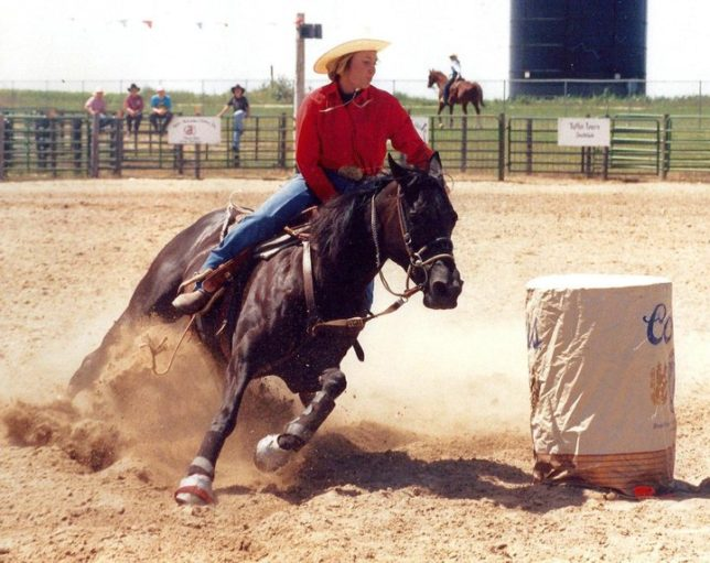 Laurie Staton, vice president of marketing and sales for Bronco Billy's Saddles and Tack, Council Bluffs, Iowa, has been involved with horses and rodeos most of her life, and enjoys riding colts and barrel racing.