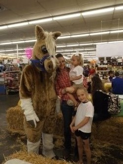 Pal-A-Mine, Breyer's mascot, will greet visitors to the Breyer Fun Day Saturday at Bluestem Farm & Ranch Supply, Emporia.