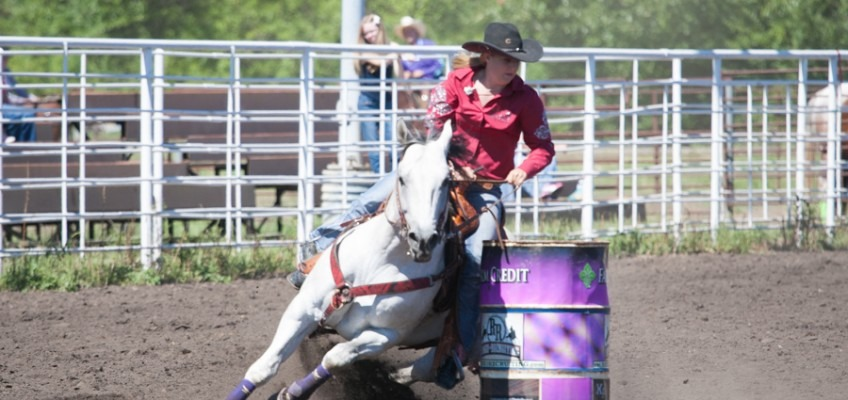 Kayla Olson of Coldwater was yearend champion in barrel racing in the Kansas High School Rodeo Association enroute to the finals runnerup all-around cowgirl title. Shown there last year, she'll be competing at the National High School Rodeo Finals in Wyoming during July. (Photo from JenningsRodeoPhotography.com)