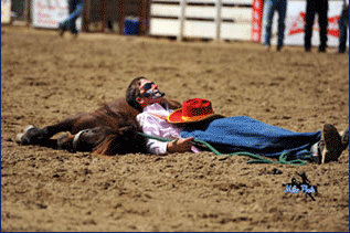 Expect the unexpected is the only way to predict the shenanigans set for bleacher crowds when funnyman Brain Potter, Newville, Alabama, enters the arena at the Flint Hills Rodeo, in Strong City, June 2-3-4.