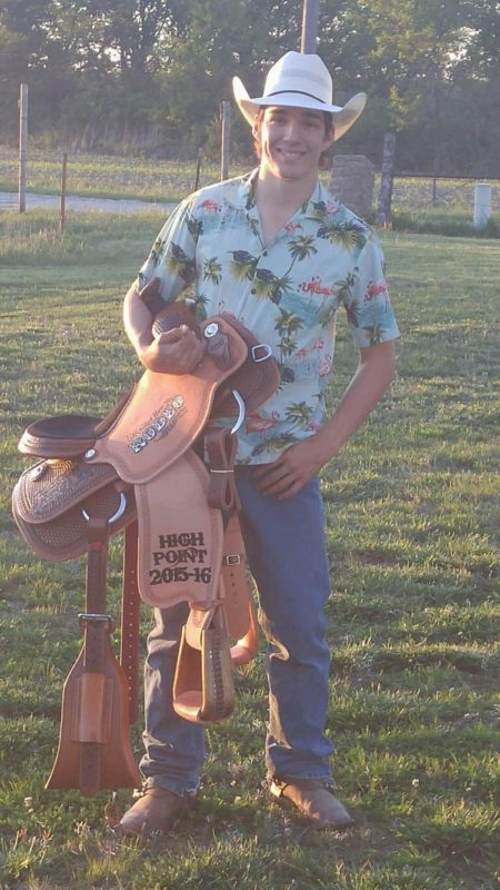 A new saddle was collected by Jesse Pope of Garnett as the all-around cowboy at the Kansas High School Rodeo Finals in Topeka.