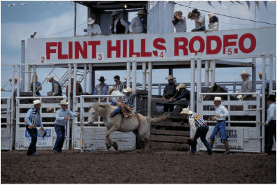 Tradition steeps highest in the country when the first bucking chute opens and top professional cowboys from throughout the United States compete in the oldest consecutive rodeo in the state of Kansas, June 2-3-4, at Strong City.