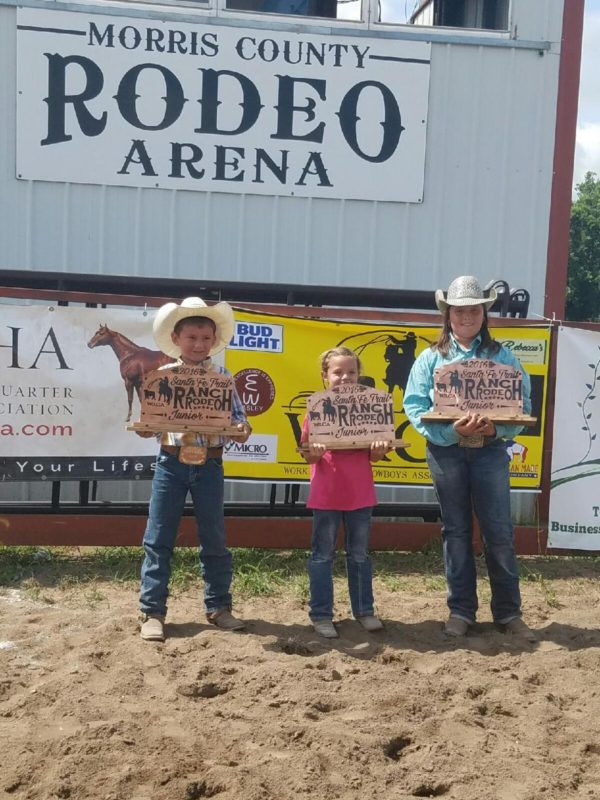 "Cole Wilson, Lola Vogel and Carly Potter composed the ""45 Cattle"" team winning the Junior Ranch Rodeo during the Santa Fe Trail Ranch Rodeo at Council Grove. (Photo by Amy Allen.)"