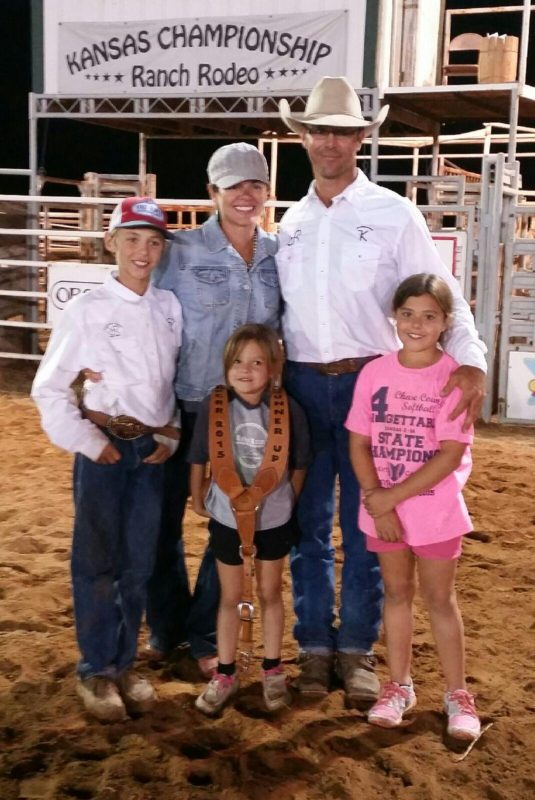 Horses are part of the family for Adrian and Abbey Vogel and their children Pax, 11; Piper, nine; and Lola, six. From their headquarters home at Cottonwood Falls, they operate ranches in the Flint Hills of Chase County.