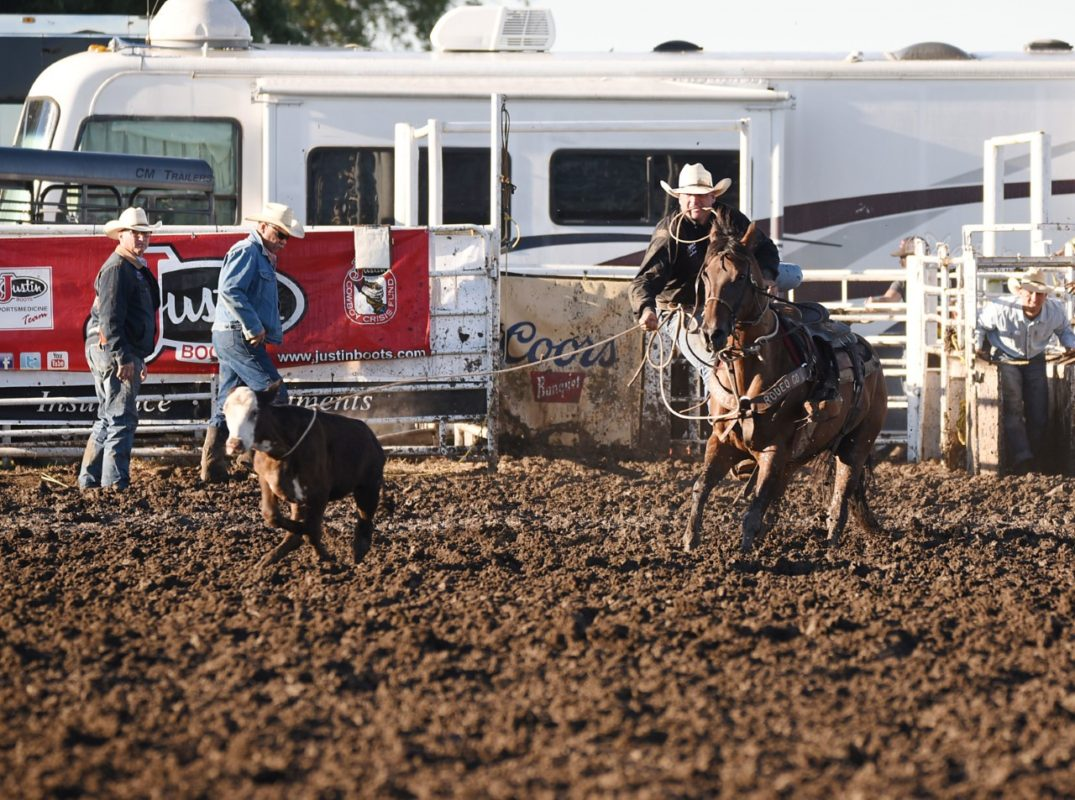 Trell Etbauer, Goodwell, Okla., won the first go-round tie down roping at Eureka and placed second in the second go-round, plus picked up points at Mound City and Coffeyville to be named champion in the calf roping event of the Eastern Kansas Pro Rodeo Series. Etbauer also tied with Mitchell Gardner, Dover, Okla., for runner-up in the series steer wrestling. (Dale Hirshman photo)