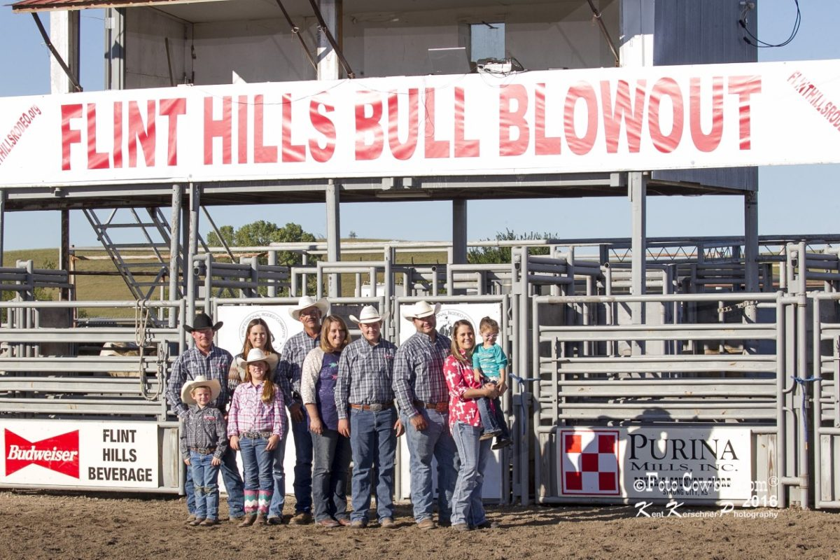 All of the family gets involved in the Flint Hills Bull Blowout at Strong City. Gathered for picture taking time were Kyle, Jenna, Tate and Karlie Gibb; Kim, Lana and Wyatt Reyer; and Kelsey, Adam, and LaKin Spain.