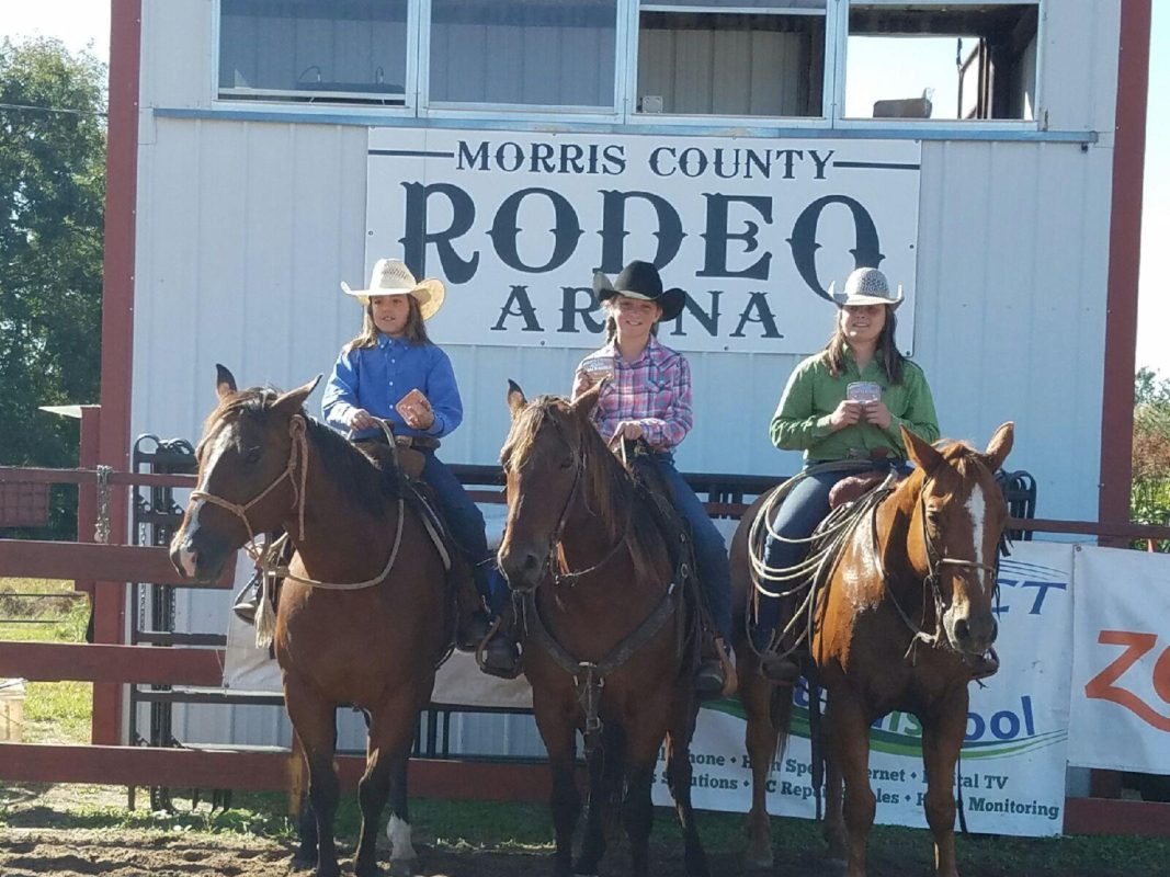 Piper Vogel, Emma Arndt and Carly Potter rode for the Arndt Ranch to win the Junior Ranch Rodeo sponsored by the Morris County Youth Rodeo Association at Council Grove.