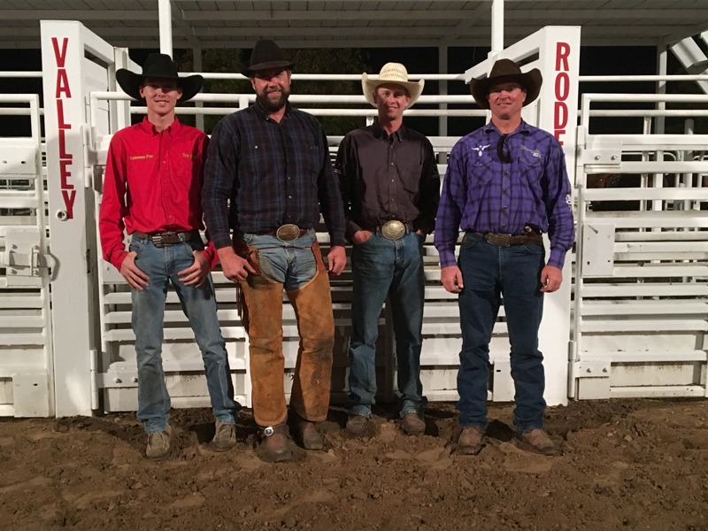 Lonesome Pine Ranch of Chase County had Bud Higgs, Troy Higgs, Travis Duncan and Paul Osgood riding to win the second annual Riley County 4-H Horse Club Ranch Rodeo at Manhattan.
