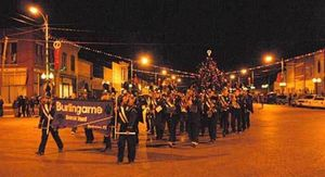 The Burlingame Band will strike up their first beat at 6 o'clock, Saturday evening, Dec. 3, officially opening the Parade of Lights, and climaxing a jam packed day of Christmas on the Trail activities at the 27th annual Burlingame Country Christmas.