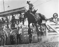 Two-time world champion all-around cowboy Gerald Roberts shows the style that made him a winner at his hometown Flint Hills Rodeo in Strong City. Images like this and considerable other rodeo memorabilia from more than 76 years as well as many modern-day keepsakes are to be available at the new Flint Hills Rodeo Souvenir Building to be constructed, with a donation fundraising campaign now underway for a valuable Christmas Package Drawing