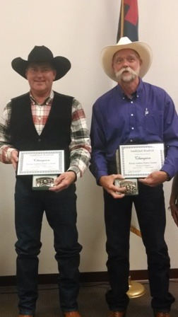 """Champions in the 2014 Kansas Cowboy Poetry Contest at Alma were Frank Schweighart, Brashear, Texas, for his rendition of """"Life Less Lived"""" in the serious division, and Tim Keane, Manhattan, for his presentation of """"Virtual cow 3.0"""" in the humorous category. Photo By: Ron Wilson"""