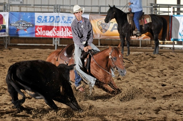 Ridding a 15-year-old double bred Doc Bar sorrel stallion named Can Ya Quanah, Calvin Coddington, 19-year-old all-around cowboy, from Reading won the boys cutting division in the Kansas High School Rodeo Association this year.