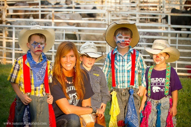 """Mutton Busting is planned as a special attraction for the kids at the Circleville Rodeo, Friday and Saturday evenings, Aug. 8 and 9, at the Circleville Saddle Club Arena. An eager group of """"Little Clowns"""" is anxious to assist with protecting the sheep riders and likely providing ample spectator entertainment to boot. (Photo by Susan Rollins.)"""