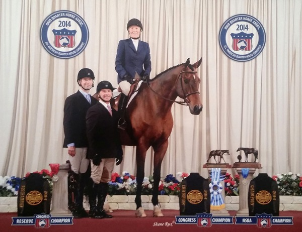 Dolly Anderson is on Im Handy Andy after being named champion in Select Hunter Hack  and collecting two other Top Ten awards in jumping competitions at the recent American Quarter Horse Congress in Columbus, Ohio. Shown also are the horse and rider's trainers.