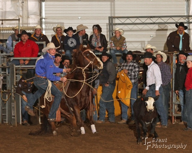 Cooper Martin, 15-year-old Alma cowboy, shows his winning style as he competes in the open calf roping at the United Rodeo Association Finals in Topeka, where he collected the yearend highpoint calf roping title riding against many cowboys two and three times his age. (Photo courtesy of TF Event Photography.)