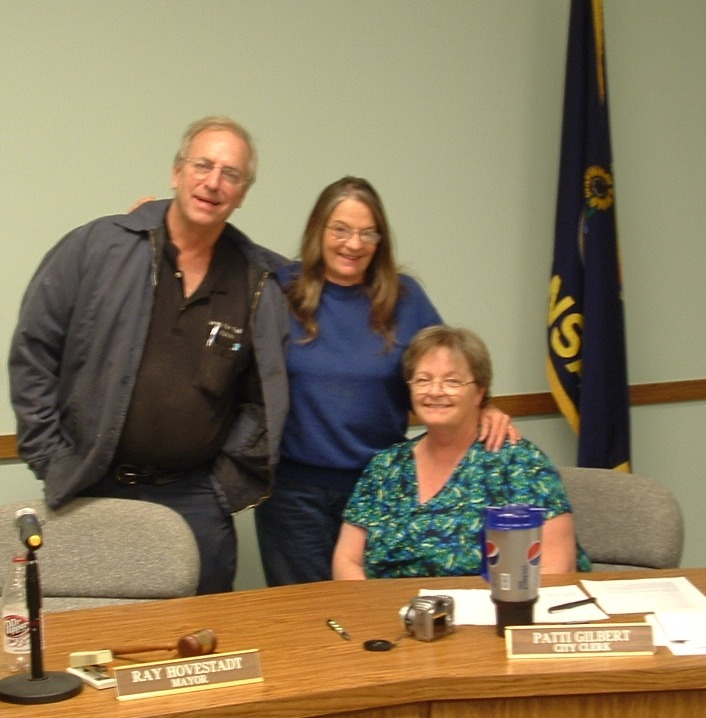 Mayor Ray Hovestadt, Pat Rusher and City Clerk Patti Gilbert talked about the day's activities
