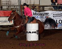 Timber Allenbrand, Paola, placed second in the first go-round, was fourth in the second round and finished second in the barrel racing average at the 50th annual United Rodeo Association Finals in Topeka. She won the yearend barrel racing title, ranked ninth yearend for breakaway roping and collected the yearend all-around award.Photo by TF Event Photography