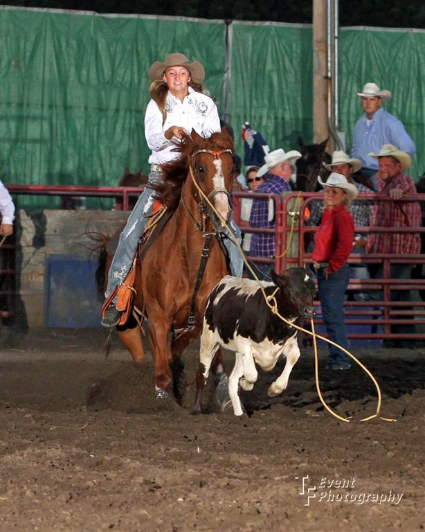 Timber Allenbrand, Paola, shows her winning all-around cowgirl ability in breakaway roping at the United Rodeo Association competition in Maxwell, Iowa, riding her 11-year-old sorrel mare, J-Lo