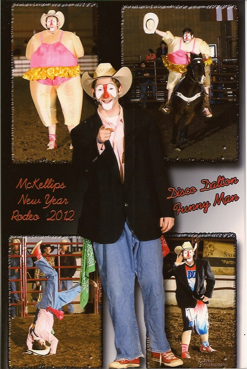 Dalton Morris of Odessa, Missouri, is better known as Dalton the Clown at rodeos throughout the Midwest entertaining crowds as a funnyman, in the bucking bull barrel and with a diverse repertoire of acts.