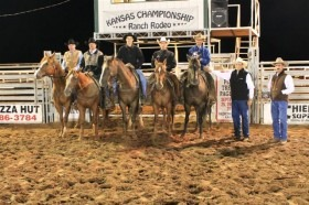 Top honors at the Kansas Championship Ranch Rodeo in Medicine Lodge went to the Lonesome Pine Ranch of Cedar Point. The team will compete at the 18th Working Ranch Cowboys Association World Championship Ranch Rodeo, November 7-10, Amarillo, Texas.