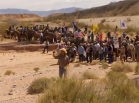 It was a standoff between law enforcement and some ranch family supporters when Bureau of Land Management attempted to claim cattle owned by Cliven Bundy in payment for past due government land grazing. To prevent injuries, lawmen backed off, but considerable coverage of the issue at hand is continuing. (CNN photo)