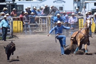 Competing on his 19-year-old mare called Cowgirl; J.D. Draper of Oakley was third in calf roping yearend standings of the Kansas High School Rodeo Association, qualifying to compete at the National High School Finals Rodeo, Rock Springs, Wyoming, July 13-19.