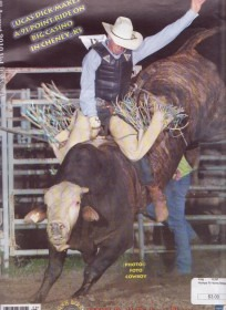 Lucas Dick shows championship form in his hometown rodeo at Cheney when he marked 91 points to win on Big Casino. (Photo by Kent Kerschner Photography, Foto Cowboy, kent@fotocowboy.com.)
