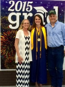 Family is adamantly credited for dedicated help leading to successes for Megan Poole with her parents John and Michelle Poole at Council Grove High School graduation ceremonies Sunday where she was recognized as Salutatorian of the Class of 2015. To be play basketball at Pratt Community College this fall, while studying in the pre-veterinary science curriculum, Megan will depend on her sister, Morgan, who'll be a sophomore, to care for her horse and farm chores while at college.