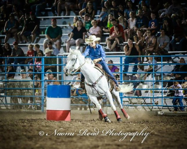 Bailee Snow, Miami, Oklahoma, won barrel racing at the Mound City rodeo in 17.2 seconds (shown), and placed third at Eureka with a 17.97 seconds run, to take home checks totaling $991. She was the Eastern Kansas Pro Rodeo Series champion in barrel racing (Photo by Naomi Read Photography.)