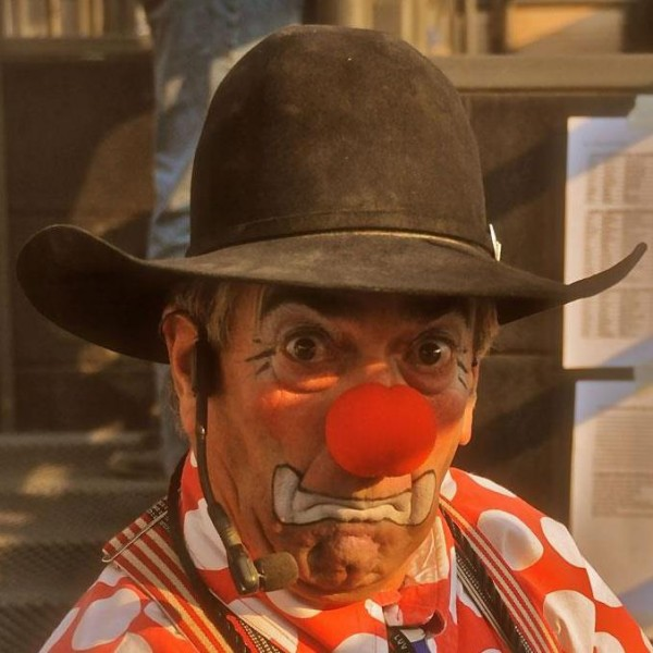 Biggest red nose is telltale sign Donnie Landis has come to town to entertain, and the rodeo clown has promised to do just that, although he won't admit exactly how, but he'll be featured attraction for the Flint Hills Bull Blowout Saturday night, Sept. 12, at Strong City.