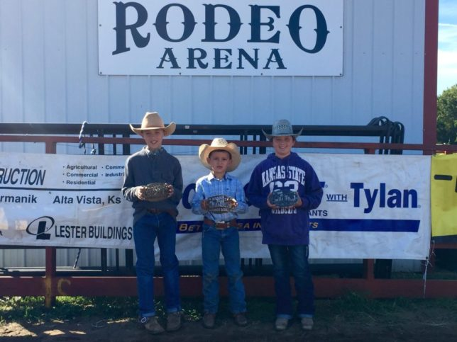 Champion team at the recent Junior Ranch Rodeo sponsored by the Morris County Youth Rodeo Association at Council Grove was Pax Vogel, Cole Wilson, and Carlee Potter, representing the Lonesome Pine Ranch from Chase County. (Photo by Janon Johnson.)