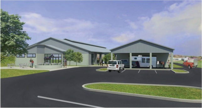 An architectural rendering shows the 2.8 million state-of-the-art Equine Performance Testing Center to be constructed at Kansas State University in Manhattan.