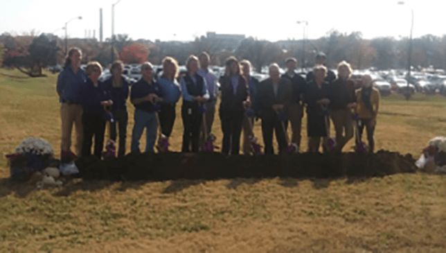 Shovels unearthed soil last Wednesday afternoon, Nov. 4, beginning construction on the Equine Performance Testing Center at Kansas State University in Manhattan.