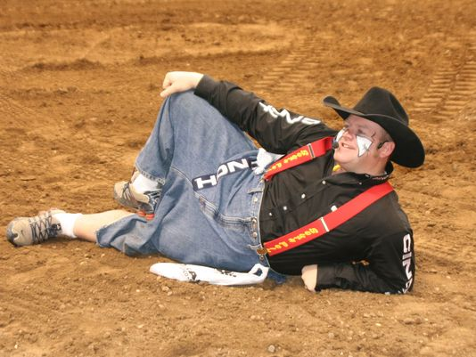 A little rest adds to appeal of Justin Rumford when he comes to clown around at professional rodeos.