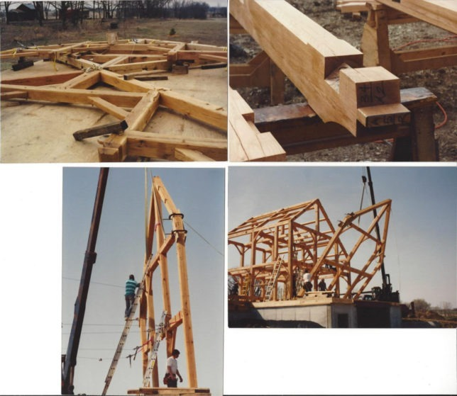 """A collage reveals the post-and-beam design of Brad Carter's timber frame farm home near Paola, as Carter is on the ladder securing the bent, """"a structural member of the cross-section frame.""""  Top right photo shows the detail of a joint, with bents lying on deck, and the bent is being lifted into place, lower right."""