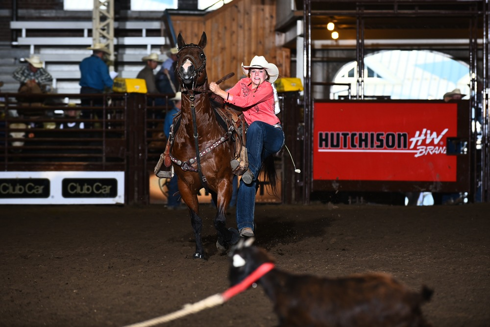 """Verifying her """"Iron Woman"""" abilities, Caxton Martin, 14, Alma, competed in the goat tying event at the Junior High Rodeo Association Finals last summer where she also collected the all-around title."""
