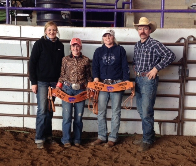 """Caxton Martin, Alma, second from left, was named the """"Iron Woman"""" following Saturday's all-around cowgirl competitions sponsored by the K-State Rodeo Club at Manhattan. Michelle Wilson, Lyon County, second from right, was the reserve title winner. Mary Staub, left, host club vice president and the """"Iron woman"""" chairman, and Casy Winn, right, rodeo club advisor and K-State Rodeo Team coach, presented engraved breast collars signifying their honors to the winners."""