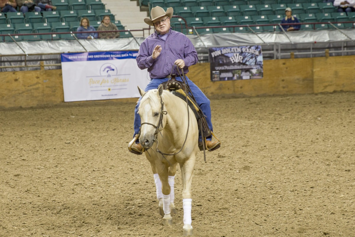 """Tim McQuay, reining horse trainer from Tioga, Texas, was leadoff clinician at the recent EquiFest of Kansas in Topeka. """"Patience is the key to making a top riding horse, whatever the discipline,"""" according McQuay. (Photo by Mindy Sue Andres.)"""