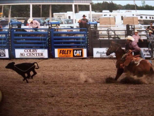 Landon Koehn of Salina is competing on his favorite mount called Roper in the calf roping at the Colboy Rodeo a couple of years ago.